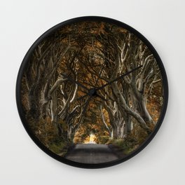 Dark Hedges alley in autumn Wall Clock