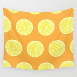 Lemon slices pattern design on orange Wall Tapestry