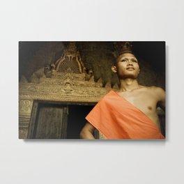 Buddhist monk in Luang Prabang, Laos Metal Print