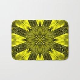 Peacock Kaleidoscope Yellow Bath Mat