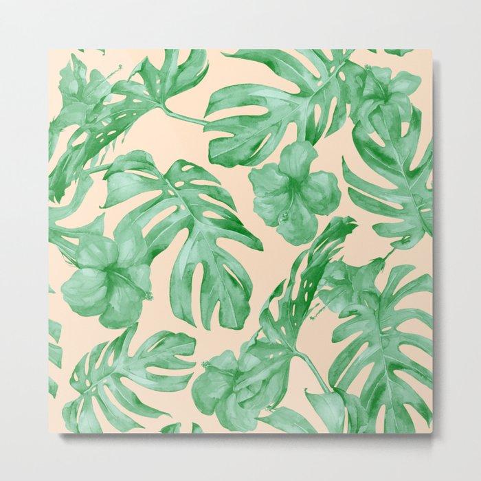 Tropical Coral Green Leaves Flower Pattern Metal Print
