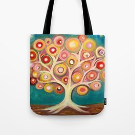 Tree of life with colorful abstract circles Tote Bag