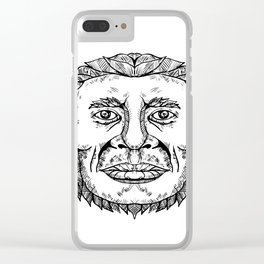 Neanderthal Male Head Doodle Art Clear iPhone Case