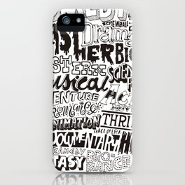 Movies Genres BW iPhone Case