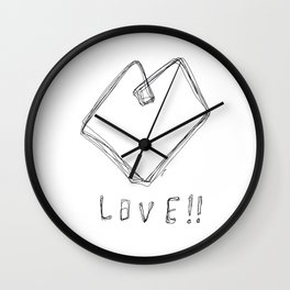 Love! Love! Love! - Heart Illustration Line Art Pop Art Wall Clock