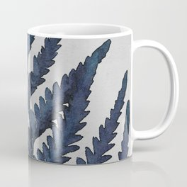 Botanical Indigo Navy Blue Vintage Leaf Fern, Watercolor Wall Art Farmhouse Rustic Country Nature Coffee Mug