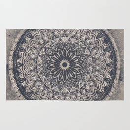 Mandala Geometric Grey and Navy Blue Rug