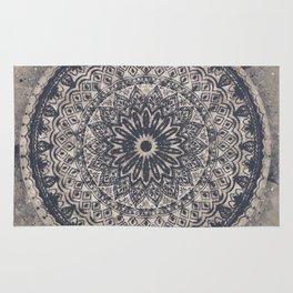 Mandala Geometric Grey and Navy Blue Rug
