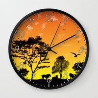 safari Wall Clocks featuring Safari by Kaitlynn Marie