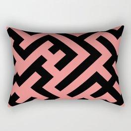 Black and Coral Pink Diagonal Labyrinth Rectangular Pillow