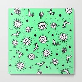 Doodle Drawing Seagulls Shells Sun - Mint Green Metal Print