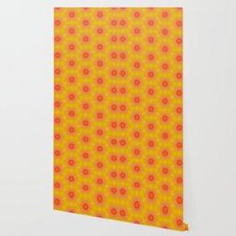 Geometrical Bright Orange and Yellow Pattern Wallpaper