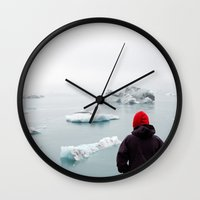 iceland Wall Clocks featuring Iceland by Laura Austin