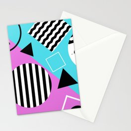 Stripes And Splats 1 - Wacky, Random, Abstract, Black And White Stripes, Blue and pink Artwork Stationery Cards