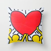 keith haring Throw Pillows featuring Keith Haring by Et Voilà