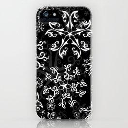 Symbols in Snowflakes on Black iPhone Case