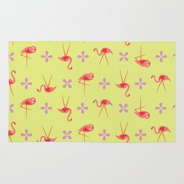 Pink plastic flamingos Rug
