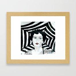 Stripy Umbrella Framed Art Print