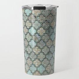 Old Moroccan Tiles Pattern Teal Beige Distressed Style Travel Mug