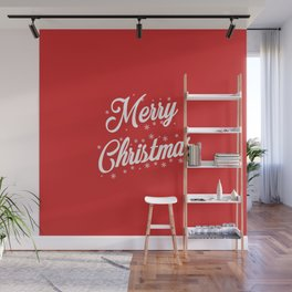 Merry Christmas with Snow Flakes on Red Background Wall Mural
