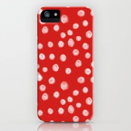 Basic red and white dots love valentines day minimal polka dot pattern iPhone Case