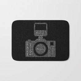 Photography Word Cloud Camera Shape Bath Mat