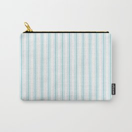 Pale Sky Blue and White Striped Mattress Ticking Carry-All Pouch