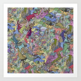 Colorful Flying Cats Art Print