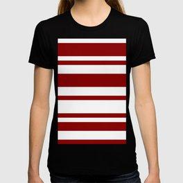 Mixed Horizontal Stripes - White and Dark Red T-shirt