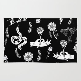 Linocut snakes hand rose floral black and white spooky gothic pattern Rug