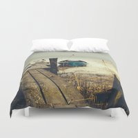 rowing Duvet Covers featuring Crooked fisherman by HappyMelvin