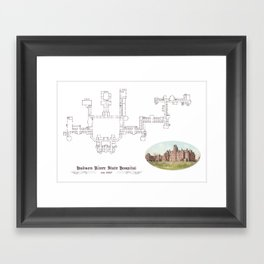 Hudson River State Hospital Blueprint Print Framed Art Print