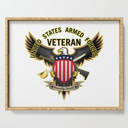 United States Armed Forces Military Veteran Eagle - Proudly Served Serving Tray