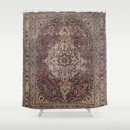 Antique Persia Doroksh Old Century Authentic Dusty Dull Blue Gray Green Vintage Rug Pattern Shower Curtain