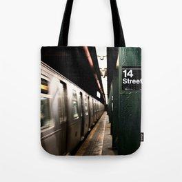 Speeding Subway Train Tote Bag