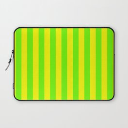 Super Bright Neon Yellow and Green Vertical Beach Hut Stripes Laptop Sleeve