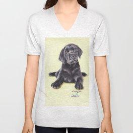Original Pet Animals Artwork (non-profit) - Labrador Puppy Dog Pastel Unisex V-Neck
