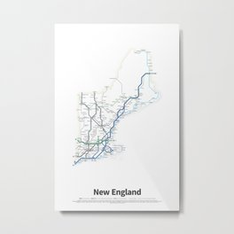 Highways of the USA – New England Metal Print