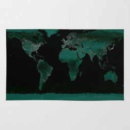 World Map : Green Rug
