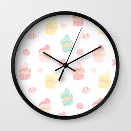 cute colorful pattern with cupcakes, starfishes, shellfishes, hearts, roses Wall Clock