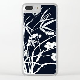 bamboo and plum flower white on black Clear iPhone Case