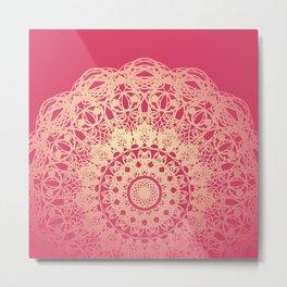 Bohemia Mandala Flower Pink and Cream Metal Print