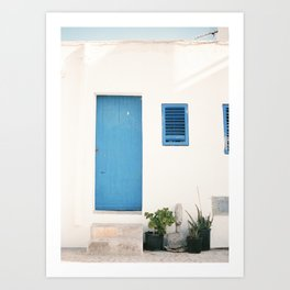 "Travel photography print ""Ibiza blue and white"" photo art made in the old town of Eivissa / Ibiza Art Print"