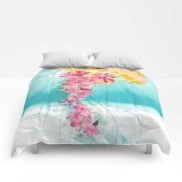 Jellyfish with Flowers Comforters