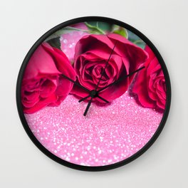 Roses over pink abstract background with bokeh defocused lights Wall Clock