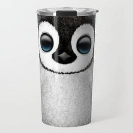 Cute Baby Penguin Dj Wearing Headphones on Blue Travel Mug