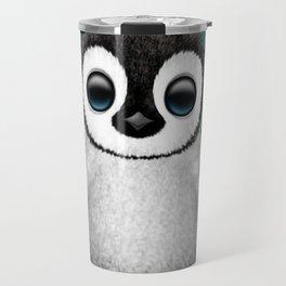 Cute Baby Penguin Dj Wearing Headphones on Blue Travel Mug