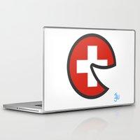 switzerland Laptop & iPad Skins featuring Switzerland Smile by onejyoo