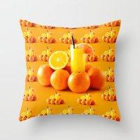 orange pattern Throw Pillows featuring Orange Pattern by Azeez Olayinka Gloriousclick