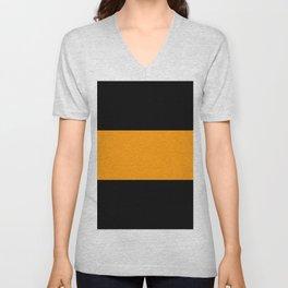 Just three colors 14 Black,orange,black Unisex V-Neck